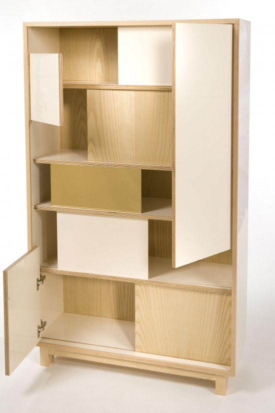 Thomas Wold, Block Party Bookcase and credenza, Butter and Cream