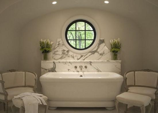 Art Deco style bathroom with Carrara marble by Erik Johnson and Associates