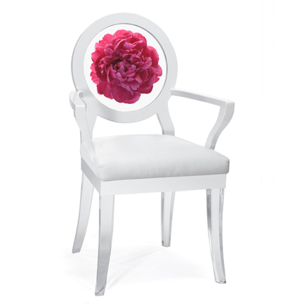 Floral Art, Fuchsia Peony Chair