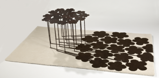 Hubert le Gall, 18 flowers table and matching rug