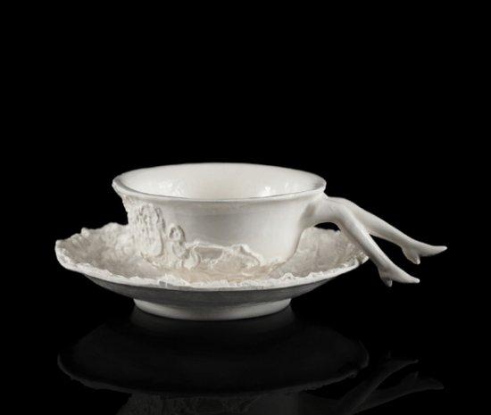 Undergrowth Design, Blaue Blume Tea Cup, Pure White Original Version