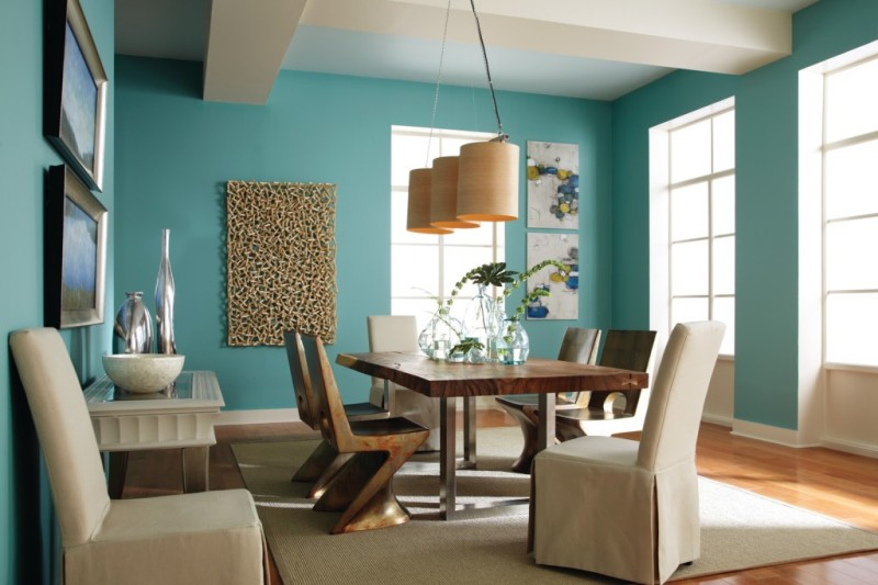 dining room with light teal walls