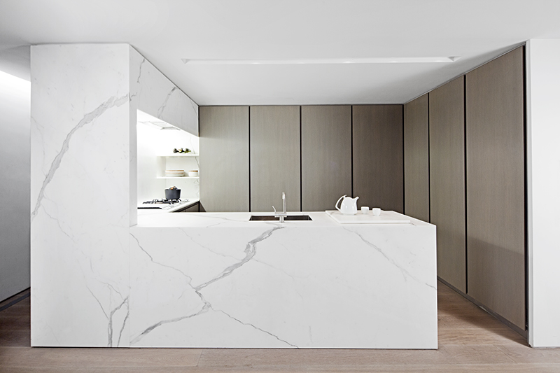 Calacatta marble kitchen The Templer Townhouse NY by Workshop for Architecture