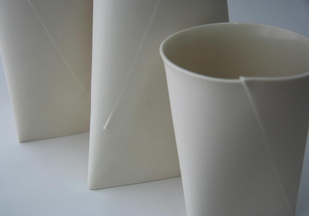Large Folded A Vases, detail