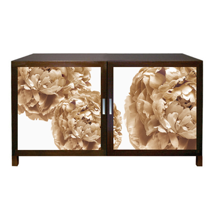Floral Art, Sepia Peony Cabinet