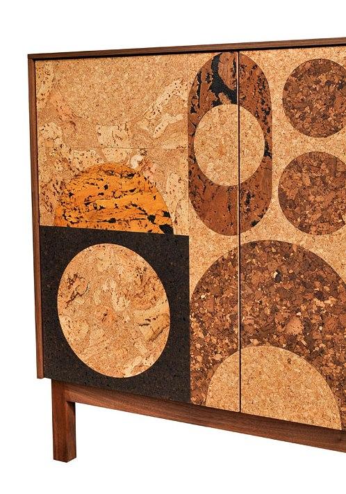 Iannone Design cork mosaic cabinet detail