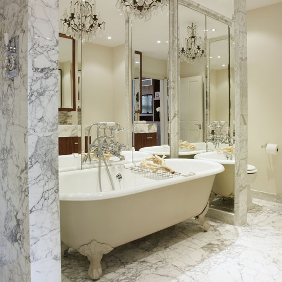 luxury marble bathroom in Art Deco style