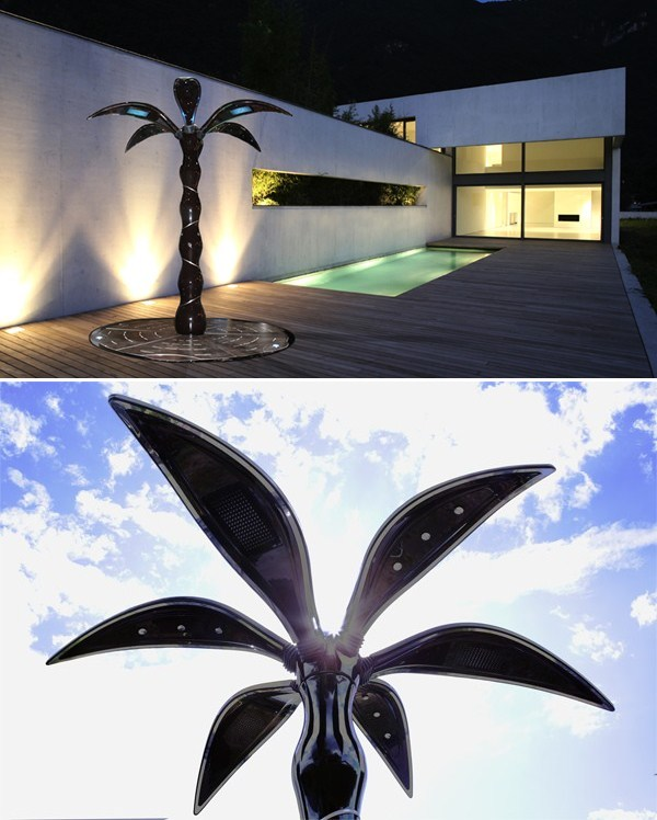 palm-shaped exterior shower