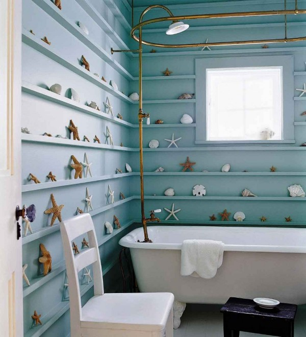 light teal bathroom walls and shelves