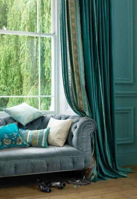rich teal colors in a living room