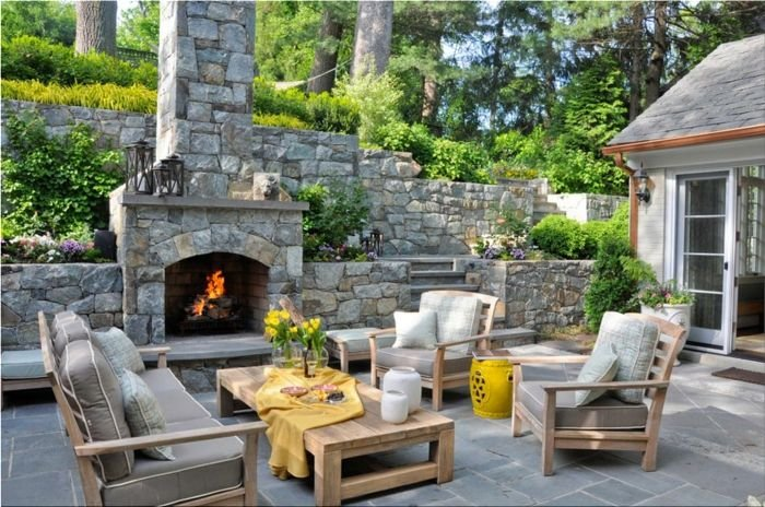 A wonderful idea for the garden terrace - outdoor fireplace