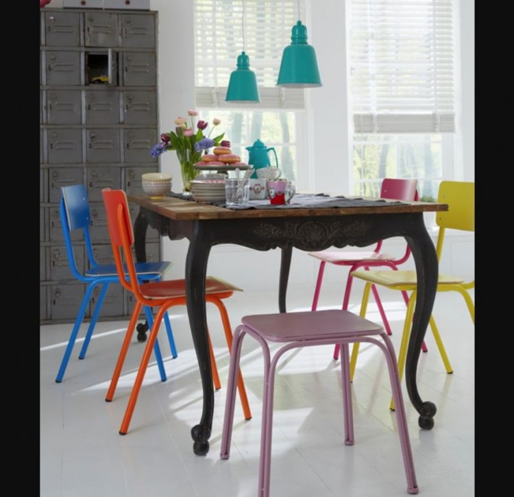 Brightly coloured furniture
