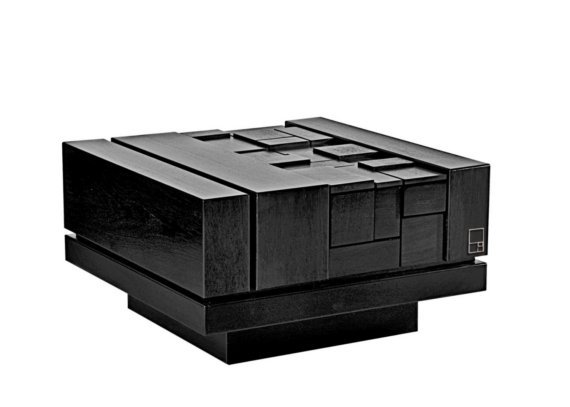 Abaci series black lacquer coffee table by MSTRF