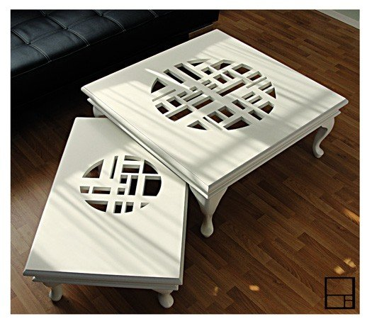 Classic series white coffee table and side table by MSTRF