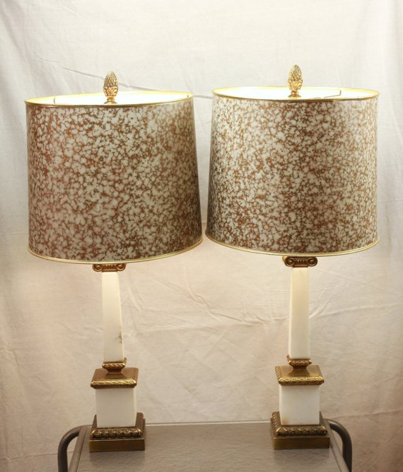vintage mid-century white marble table lamps on Etsy