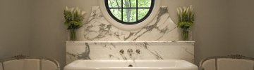Art Deco bathroom with Carrara slab marble